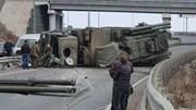 Lá chắn phòng không Pantsir-S1 Nga lật nhào trên đường cao tốc