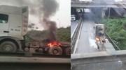 Xe đầu kéo bất ngờ cháy lốp, giao thông ùn tắc dưới gầm cầu vượt Pháp Vân