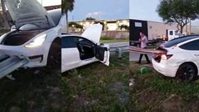 Pha thoát chết khó tin khi bị lan can đường đâm xuyên ô tô từ trước ra sau