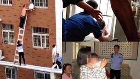 Hoảng sợ khi ở nhà một mình, bé 3 tuổi bị kẹt ngoài cửa sổ chung cư
