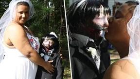 Bị gia đình ngăn cản, cô gái vẫn quyết kết hôn cùng búp bê thây ma