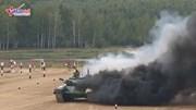 Xe tăng T-72 Iran bốc cháy nghi ngút trên trường đua