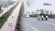 Bắc Giang: Công nhân 'đùa với tử thần' lũ lượt băng qua cao tốc đi làm