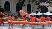 Hàng nghìn người đội nắng xem 'rồng bay' trên phố đi bộ Hà Nội