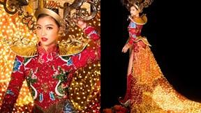 Kiều Loan tự tin trình diễn trang phục dân tộc gắn 2000 bóng đèn