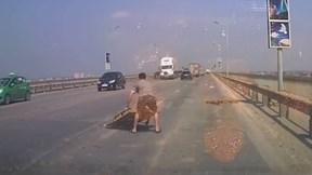 Tài xế nhặt vật cản kích thước lớn trên cầu Thăng Long