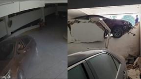Khoảnh khắc ô tô 'lấy đà' đâm đổ tường của hầm gửi xe tại Hà Nội