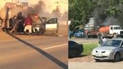 Xế sang BMW X6 bốc cháy nghi ngút được giải cứu nhờ...xe hút bể phốt