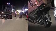 Xe máy vượt đèn đỏ tông trúng ô tô vượt ẩu