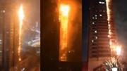 Khoảng khắc chung cư hàng chục tầng ở Trung Quốc cháy như đuốc