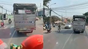 Xe tải 'quyết' không nhường xe cứu hỏa khiến nhiều người bức xúc