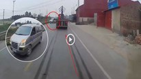 Sang đường bất ngờ, xe du lịch khiến tài xế xe đầu kéo phanh cháy đường