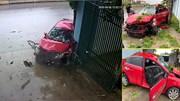 Mất lái, xe 4 chỗ lộn vài vòng rồi đâm vào gốc cây nhà dân