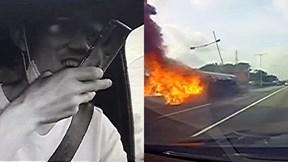 Mải điện thoại, xe bồn mất lái khiến thùng dầu văng xuống đường bốc cháy