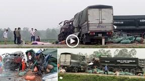 Nghệ An: Xe tải chở gừng 'đối đầu' xe ben, 2 người chết