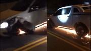 Chạy trốn CSGT, xe bán tải bể bánh vẫn chạy tóe lửa trên đường