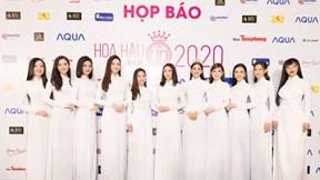 Dàn Hoa hậu diện áo dài dự họp báo Hoa hậu Việt Nam 2020