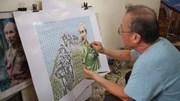 Họa sĩ ghép tranh Bác Hồ từ 3.000 con tem