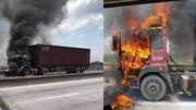 Xe container cháy dữ dội trên quốc lộ 5