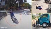 Lao 'không phanh'  từ ngõ ra đường, xe máy đâm trực diện xe tải