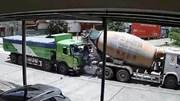 Bị xe tải húc bay vào đuôi xe bồn, xe con biến dạng hoàn toàn