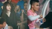 Bạn gái Quang Hải, Văn Hậu đến cổ vũ Hà Nội FC đấu SLNA