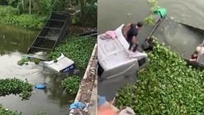 Xe đầu kéo lao xuống sông Cẩm Giàng, tài xế và phụ xe thoát chết