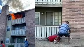 Khoảnh khắc người hàng xóm đỡ bé trai 3 tuổi rơi từ ngôi nhà đang cháy