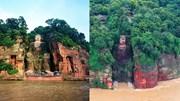 Tứ Xuyên tơi tả trong lũ, nước sông tràn lên tượng phật khổng lồ ở Lạc Sơn