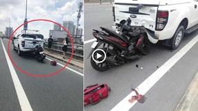 Xe máy tông đuôi xe bán tải dừng đỗ trên cầu Nhật Tân, ai đúng ai sai?