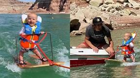Bé 6 tháng tuổi trượt ván nước mạo hiểm gây chú ý MXH