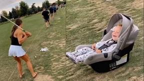 Bé gái 16 tháng tuổi cười sảng khoái khi mẹ đánh trượt golf gây sốt MXH