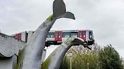 Tượng điêu khắc đuôi cá voi cứu đoàn tàu lao qua rào chắn khỏi rơi xuống hồ