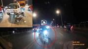 Xe máy kéo lê xe khác lao sang làn ngược chiều đâm trực diện ô tô