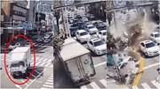 Tránh đâm hàng loạt ô tô, xe tải lao thẳng vào tòa nhà như phim hành động