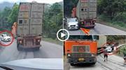 Xe container ôm cua khi xuống dốc khiến ô tô con nát đầu