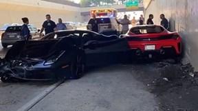 Ba chiếc Ferrari tông liên hoàn trên cao tốc khi đang tới triển lãm siêu xe