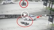 Cố vượt xe tải lớn, ô tô con húc bay nam thanh niên đi xe máy