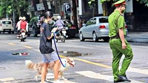 Dắt chó đi dạo vi phạm cách ly xã hội, cô gái Hà Nội bị phạt 2 triệu đồng