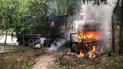 Container lao xuống rãnh nước, bốc cháy ngùn ngụt kèm nhiều tiếng nổ lớn